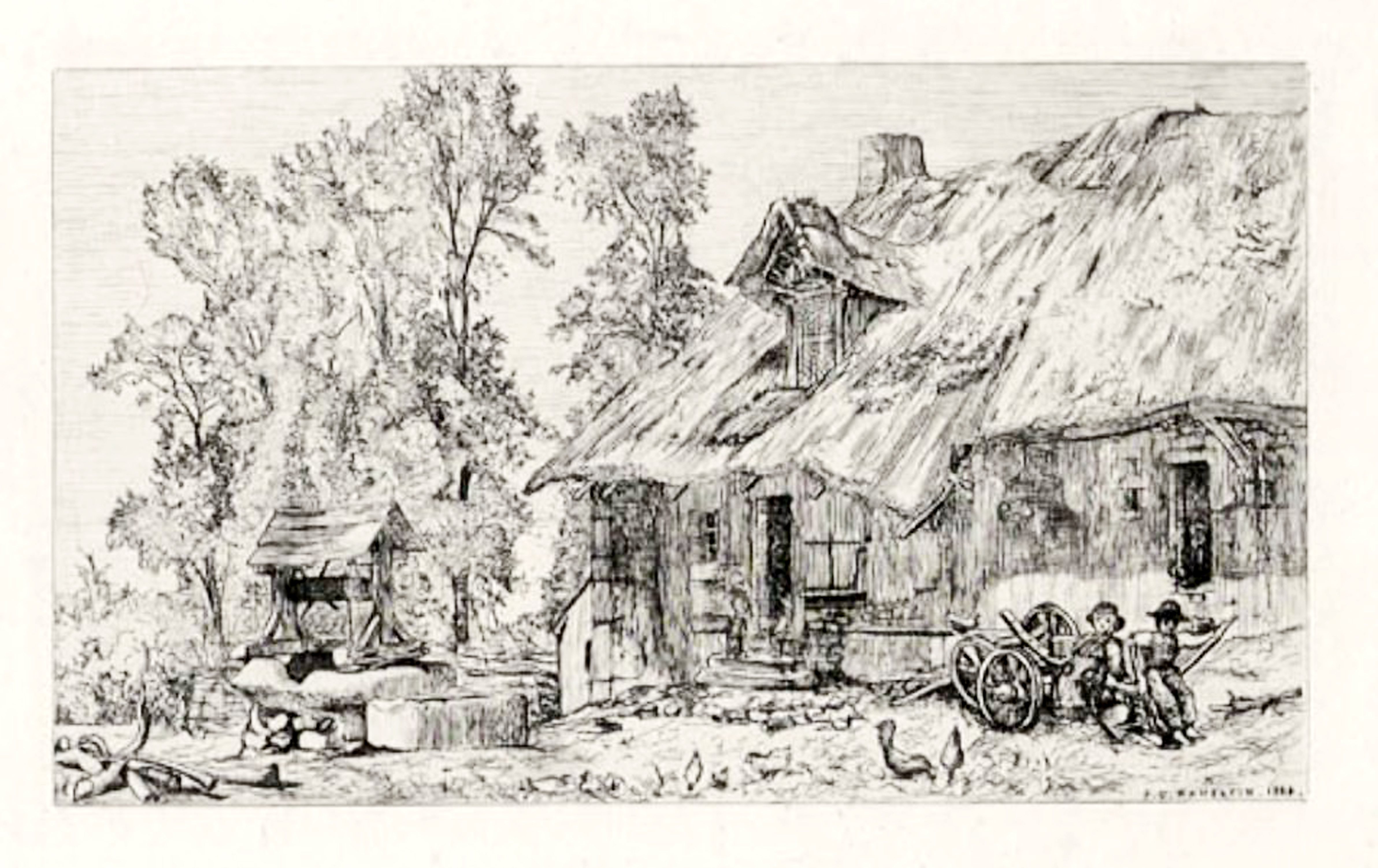 À Autun gravure eau-forte pg Hamerton 1864